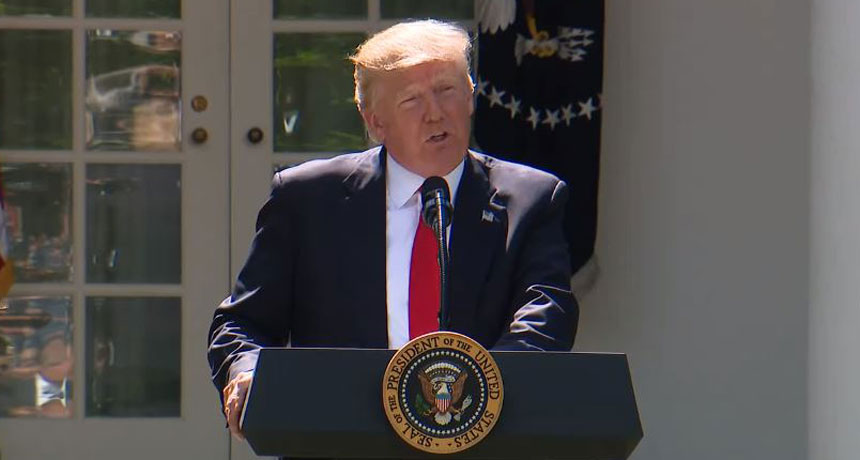 President Trump announcing withdrawal from Paris climate accord