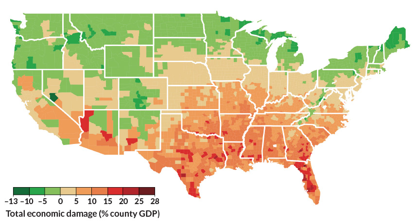 climate change economic map