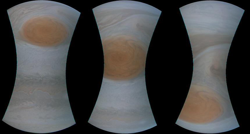 raw images of Jupiter's great red spot