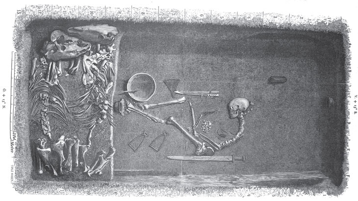 illustration of excavated grave