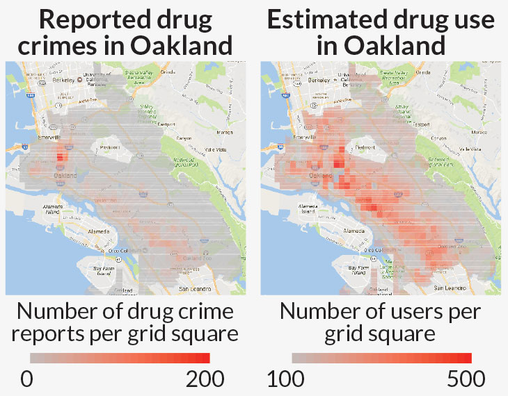 map of reported versus estimated drug use in oakland based on a machine-learning program