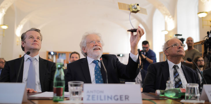 Anton Zeilinger demonstrates satellite