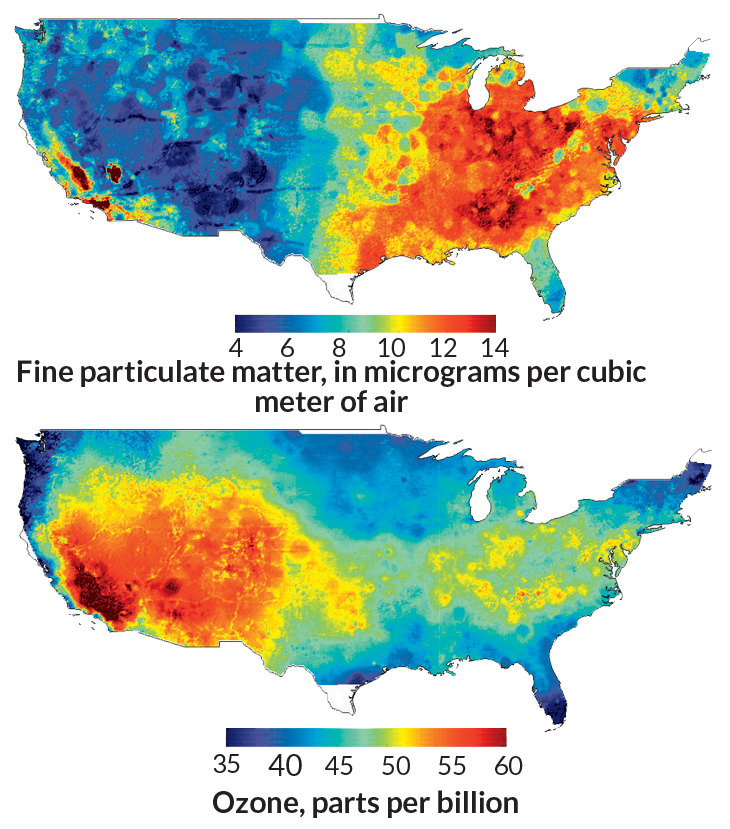 maps of particulate air pollution and ozone in the U.S.