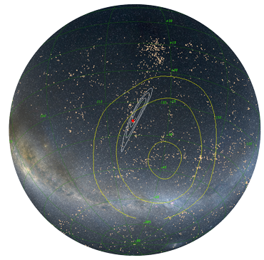 illustration of location of neutron star collision
