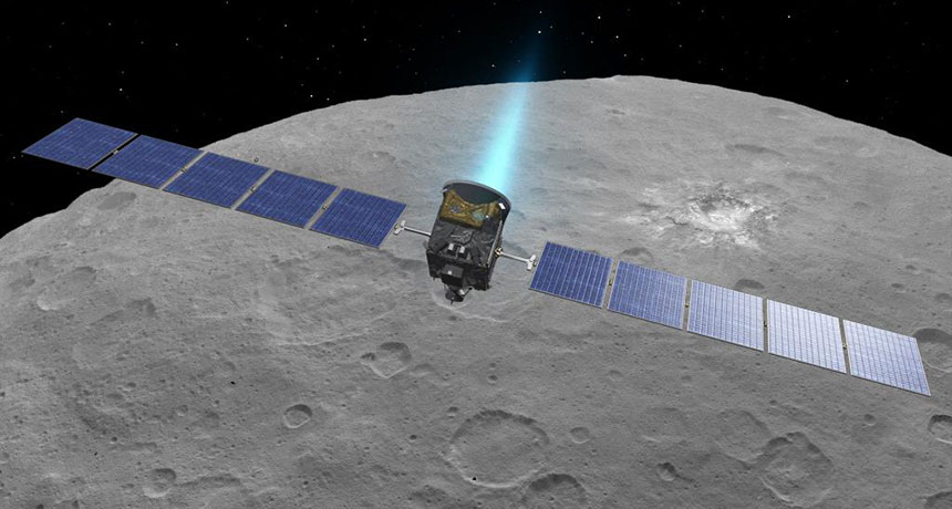 Dawn spacecraft over Ceres