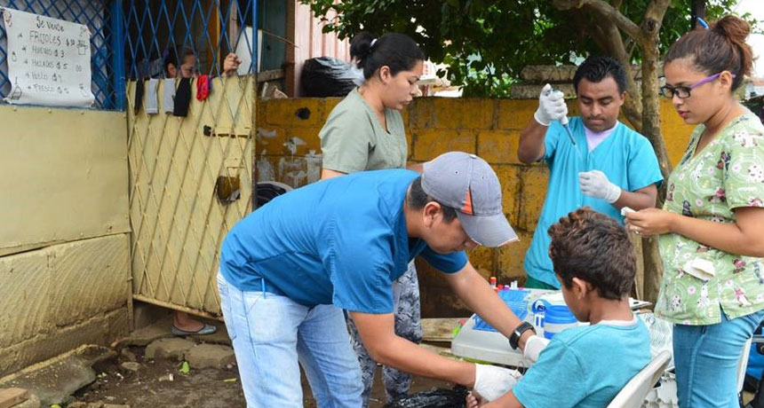 Boy in Nicaragua giving blood