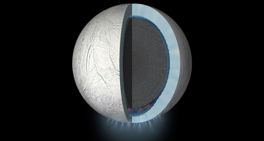 cutaway illustration of Enceladus