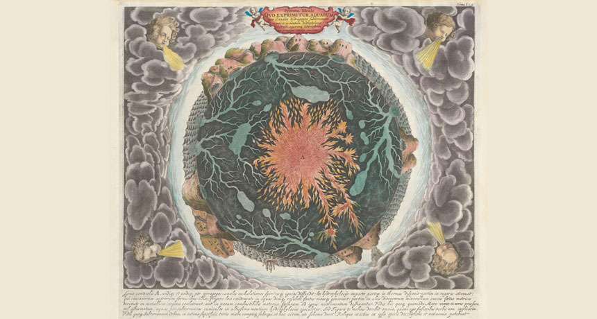 Kircher's map of Earth's core