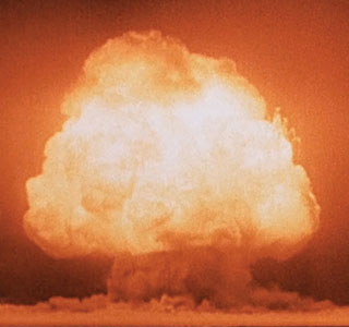 first nuclear bomb test at Alamogordo, N.M.
