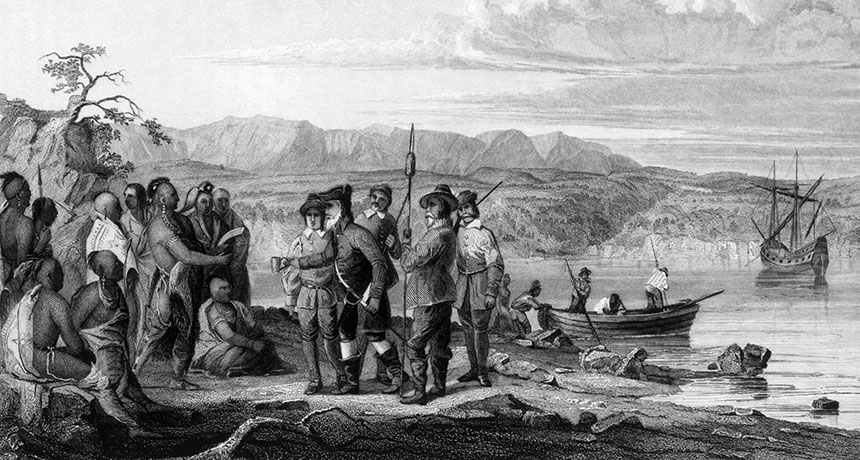Illustration of Henry Hudson meeting Native Americans