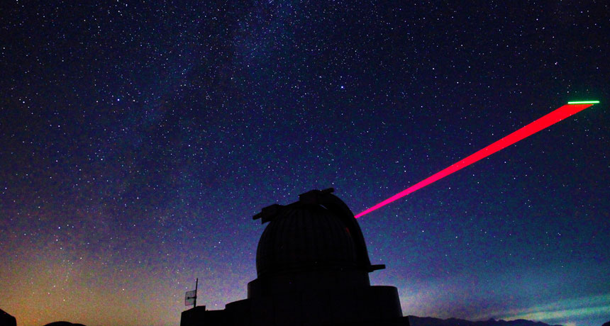 satellite beaming light down to telescope in China