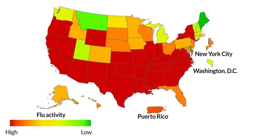 map of flu activity