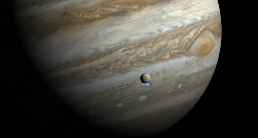 illustration of Jupiter and Europa