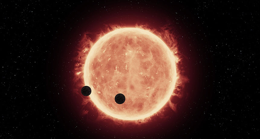 illustration of two inner TRAPPIST-1 planets