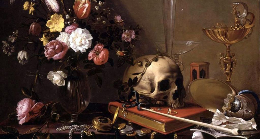 Vanitas Still Life With Flowers and Skull