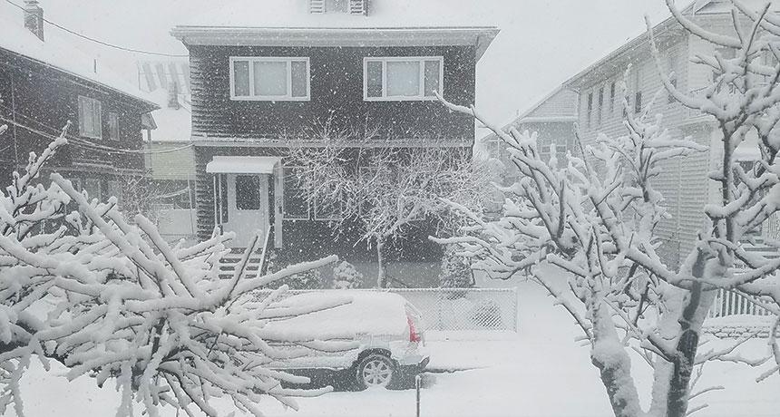 snowy house in Boston