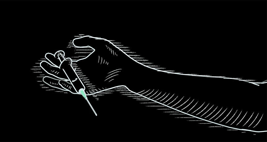 illustration of hand with syringe