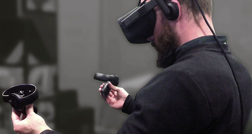 person experiencing VR
