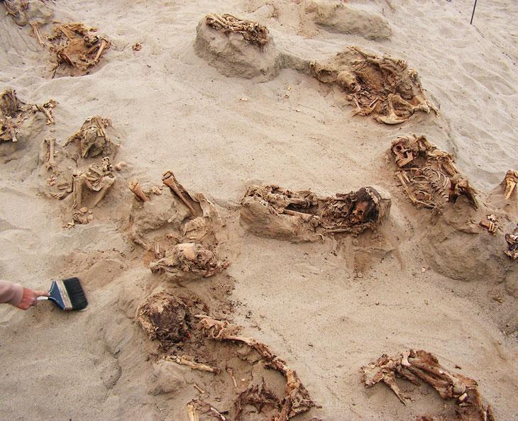 skeletons of children's bodies at Peruvian site