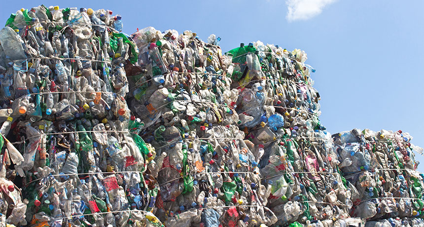 plastic stacked up in landfill