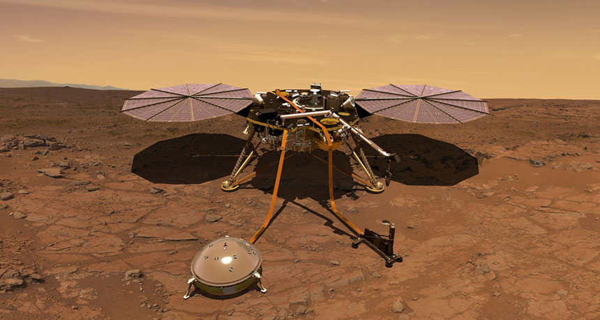 an illustration of the Mars lander InSight