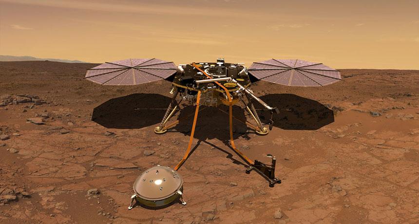 an illustration of the Mars lander InSight