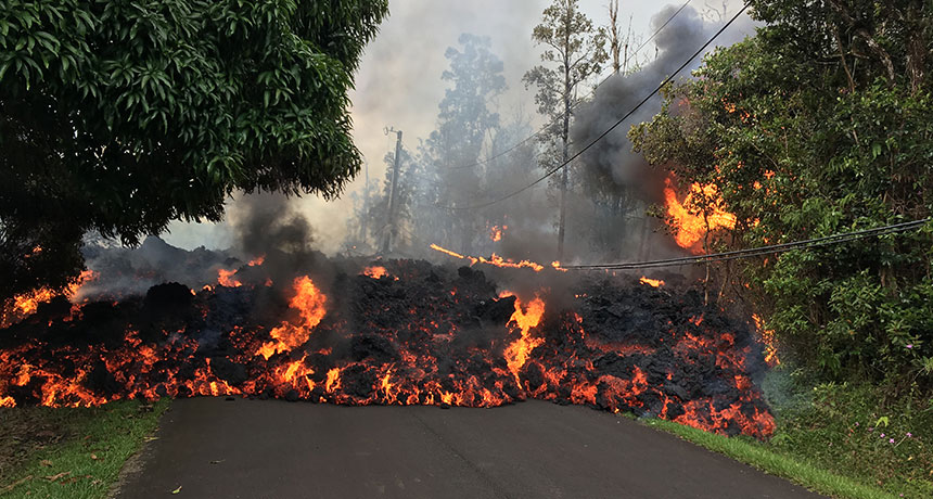 lava on road