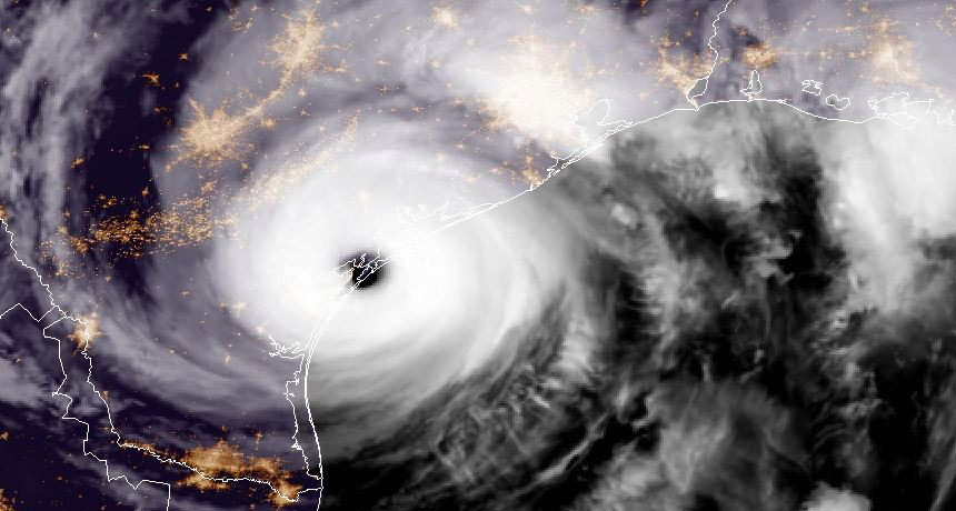 Satellite image of Hurricane Harvey