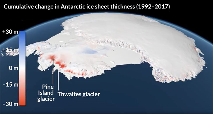map showing change in Antarctic ice sheet thickness  1992-2017