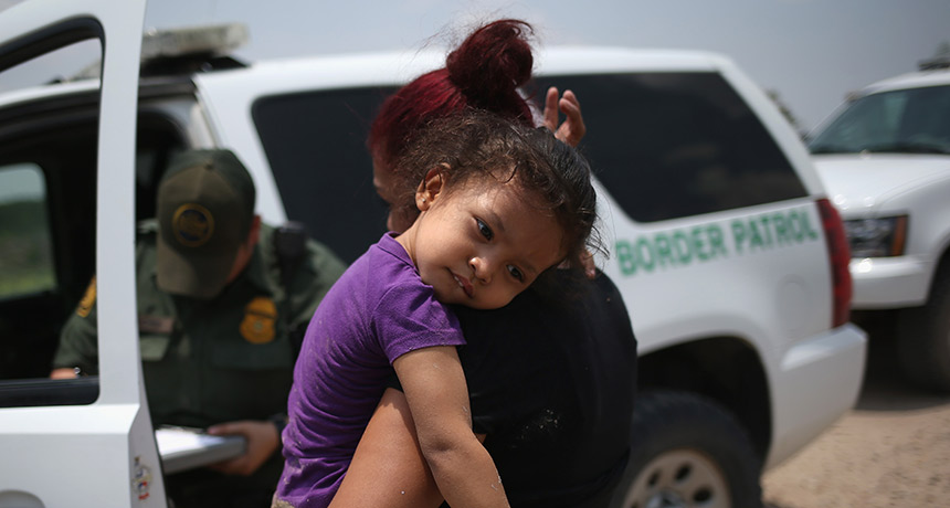young child at border