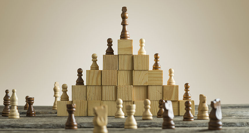 photo illustration of chess hierarchy