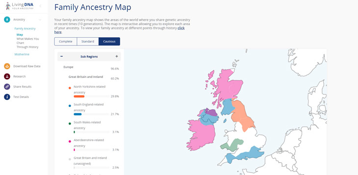 Living DNA family ancestry map