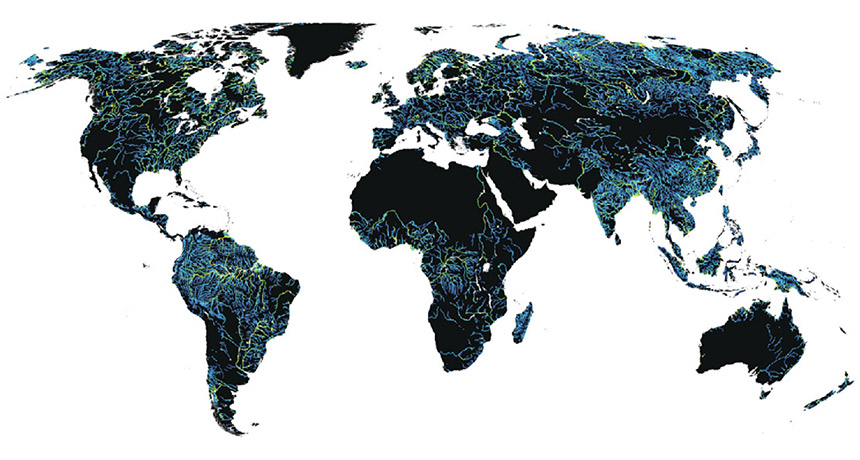 map of world's rivers and streams