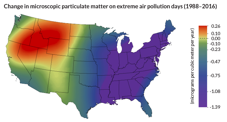 Map of air pollution changes from 1988 to 2016