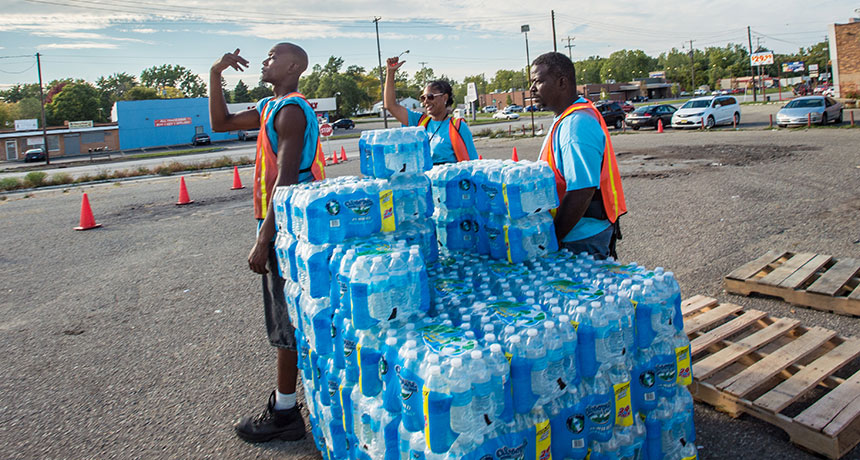 bottled water pickup site in Flint, Mich.