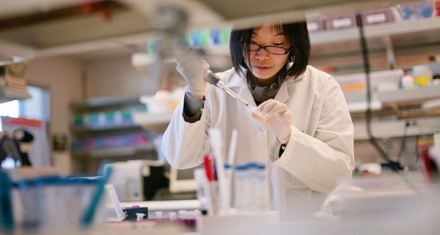 woman at lab bench