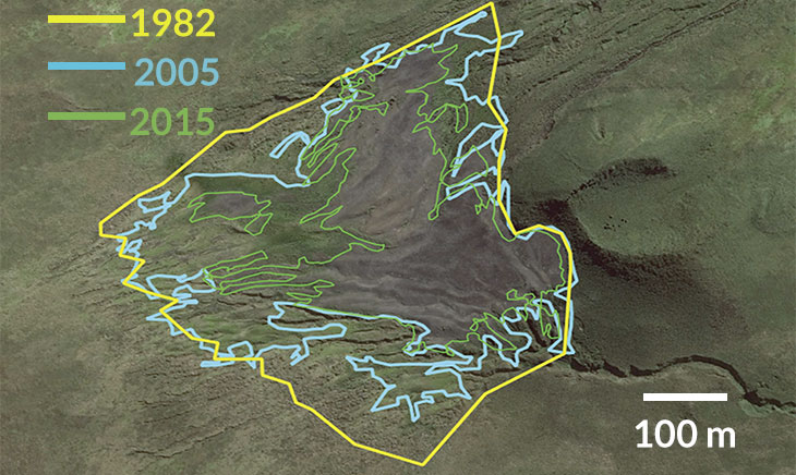 A map showing how the boundary of the largest king penguin colony has shrunk over time.