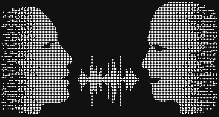 audio wave illustration of people talking