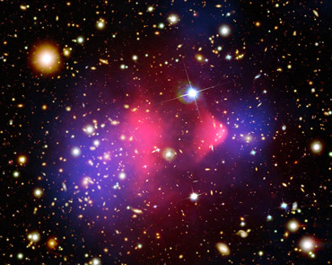 an image of the Bullet Cluster of galaxies
