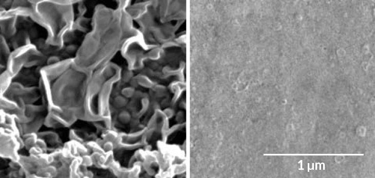 a microscopic image of two polyamide films for filtering saltwater