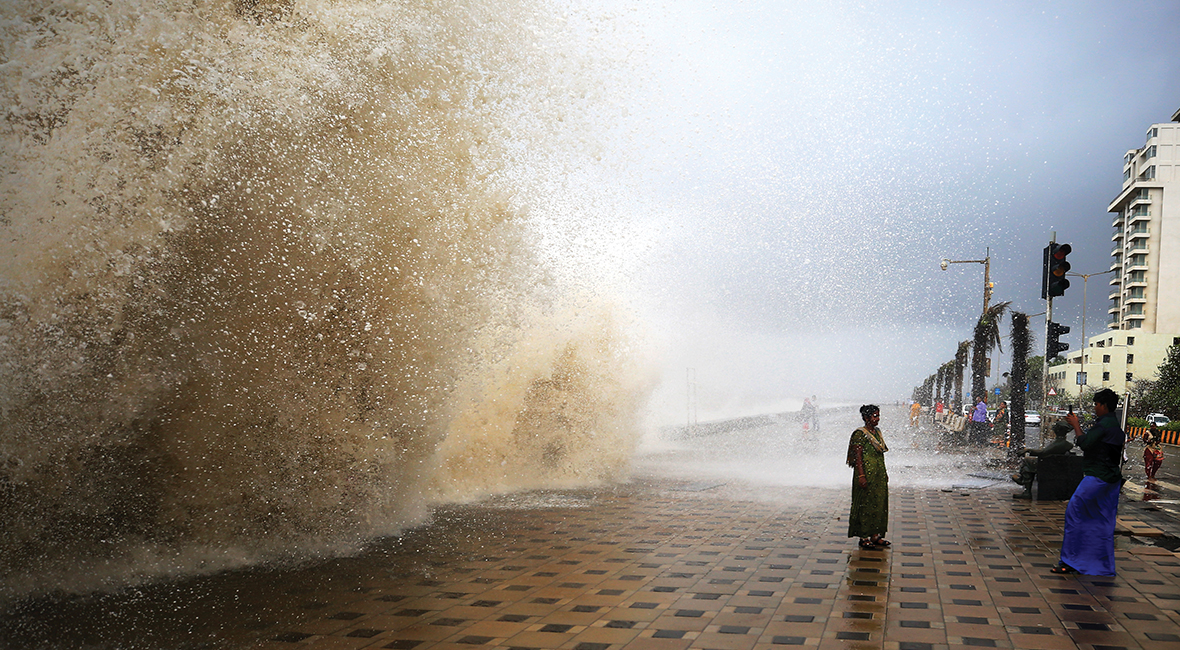 wave on Mumbai seaside promenade