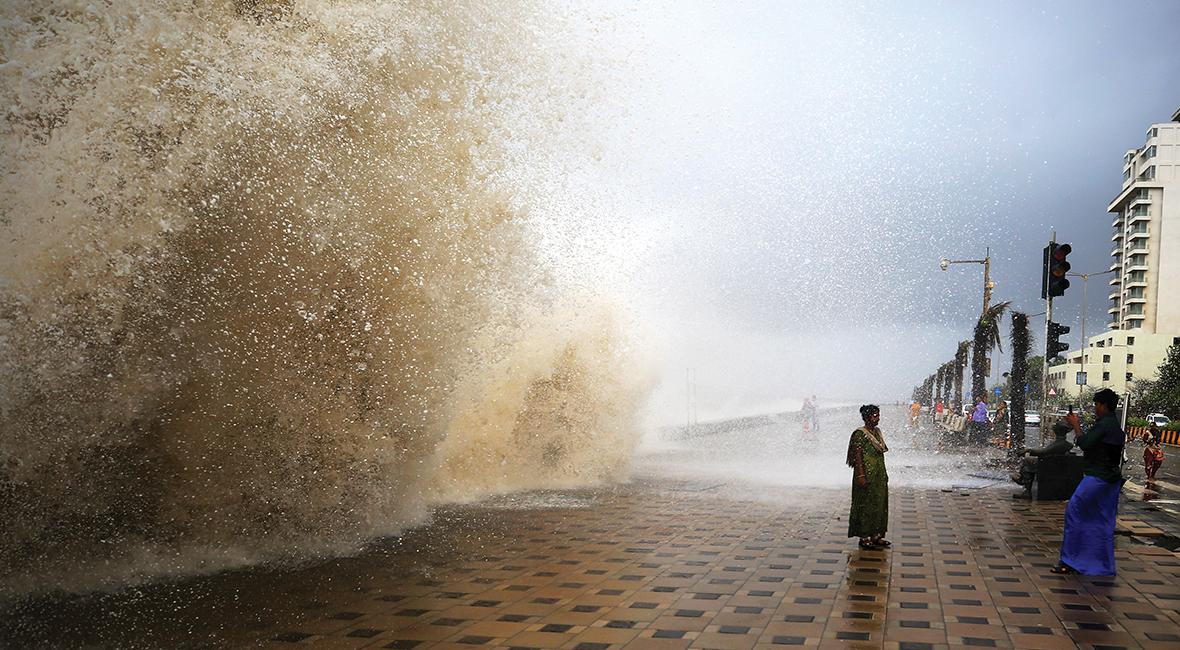 wave on Mumbai seaside promenade