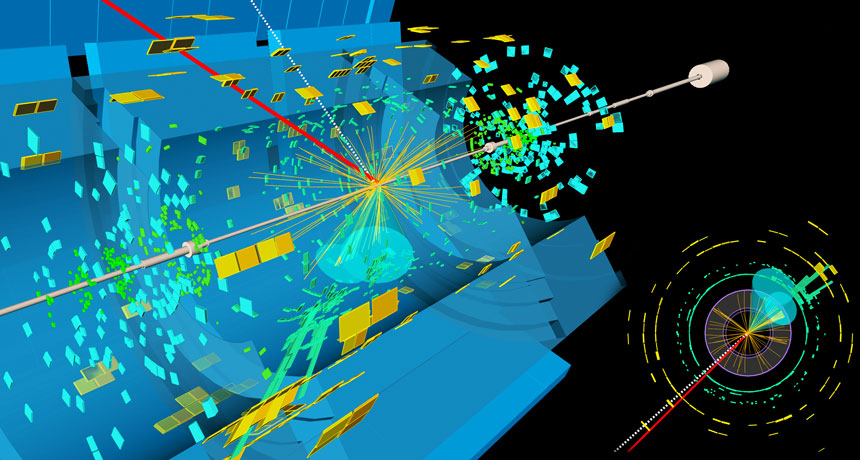 visualization of Higgs boson decaying into two bottom quarks