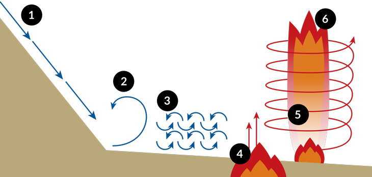 a cartoon showing how a fire tornado formed during the Carr Fire
