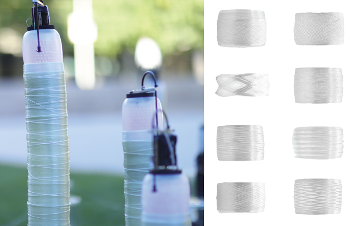 a photo of the new silkwormlike robots with fiberglass spun around their bodies, and an image of fiberglass pipes created by the robots