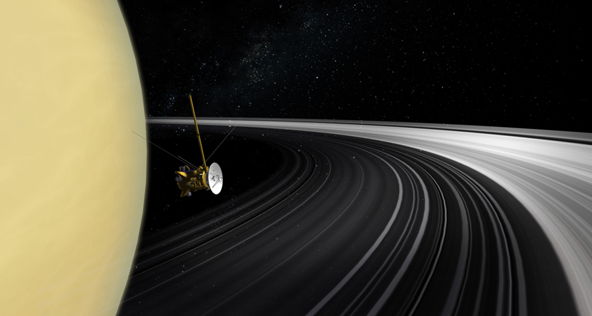 illustration of Cassini near Saturn's rings