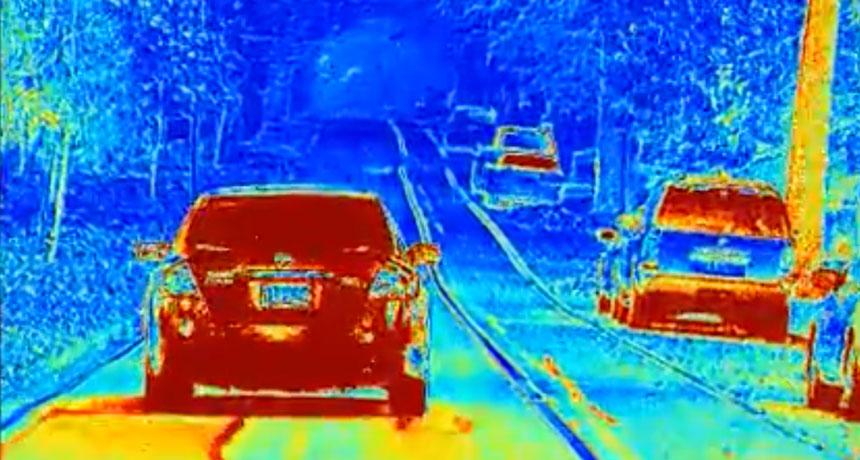 polarized camera view of street