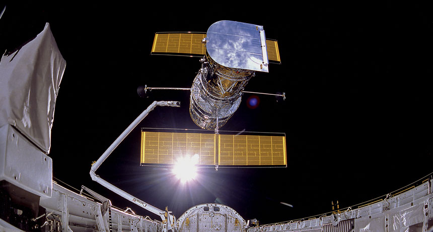 Hubble Space Telescope release from Discovery shuttle