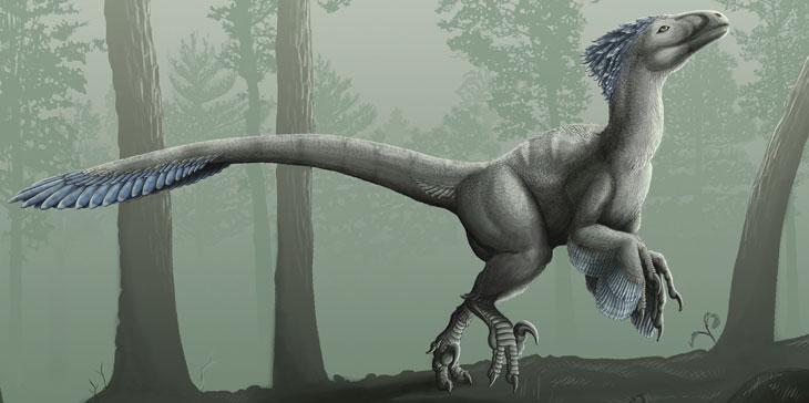 an illustration of Deinonychus antirrhopus, a therapod dinosaur