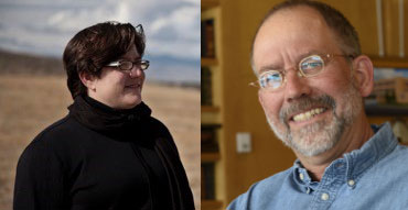 a composite photo with composer Anne Guzzo on the left and entomologist Jeff Lockwood on the right